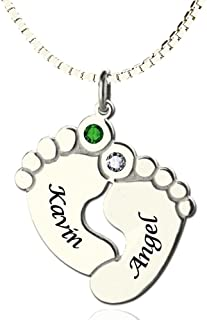 925 Sterling Silver Personalized Birthstone Baby Feet Name Necklace Custom Made with 2 Names