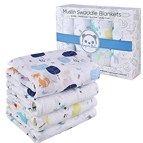 Muselina bebé 100% algodón Swddling blanket biológico certificado 120 x 120 muselina manta sábanas cuna recién nacidos paquete regalo 4 piezas para niña y niño