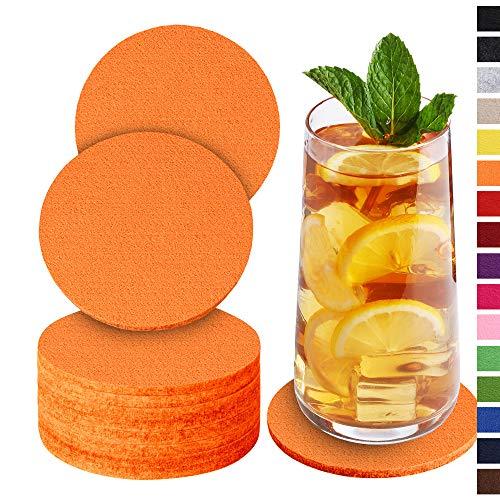 Sidorenko Sottobicchieri in feltro rotondi per bicchieri - Set di 10 - Sottobicchieri di vetro di design in arancione per bevande, tazze, bar, vetro - Sottobicchieri da tavolo