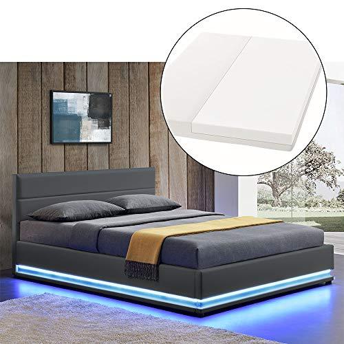ArtLife Polsterbett Toulouse 140x200 cm – Bett mit Matratze, Lattenrost, Kopfteil, LED & Stauraum – Modernes Bettgestell - Bezug aus Kunstleder grau
