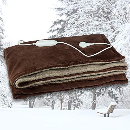 Scheffler elektrische Heizdecke – 180 x 130 kuschelige braune Heizdecke Sofadecke oder Unterbett Wärmebett Wärmedecke waschbar