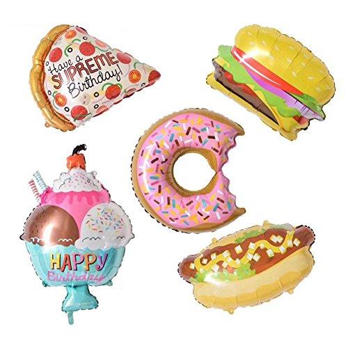 baifeng 5 x/lot Donuts creme Hamburger Hot Dog Aluminium Folie Ballons, aufblasbare Ballons Luftballons für Geburtstag Hochzeit