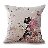 Flores niña de Hadas con el ala Caballo de algodón de Lino Throw Pillow Caso Cojín