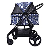 Cacoffay Foldable Pet Stroller for Puppy Luxury Roadster Easy Foldable Three Wheels Travel Pet Jogger max Loading 30 kg,Blue