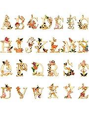 حُلى متدلية بشكل حروف الابجدية الاولى من جانكين مكونة من 52 قطعة من الخرز المطلي بالمينا على شكل زهرة جميلة في الحديقة بنمط الاميرة للحرف اليدوية