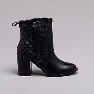 Ankle Boot Couro Matelassê Preta