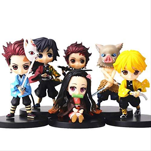DevilS Blade Figura Demon Slayer Nezuko Tanjirou Zenitsu Giyuu Inosuke Q Ver. Figura De Accion Anime Kimetsu No Yaiba Figurine Toy 6 Pcs