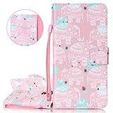 isaken compatibile con asus zenfone 3 5.5 ze552kl cover - libro wallet flip portafoglio custodia in pu pelle colorate caso con supporto di stand/carte slot/chiusura - rosa elefanti