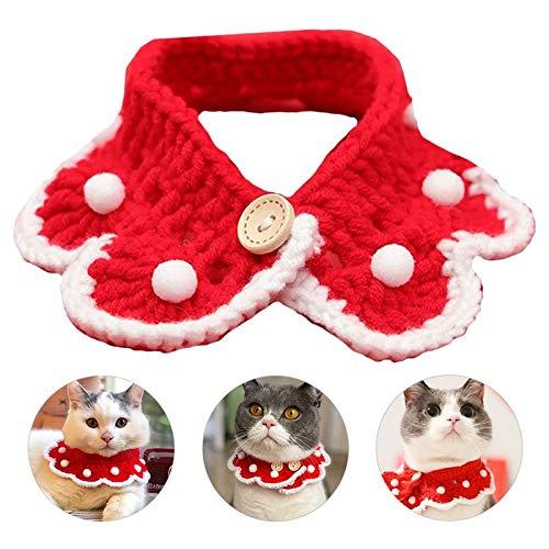Lifreer - Sciarpa lavorata a maglia, con grazioso collare di Natale, colore rosso, con sciarpa bianca a forma di palla di neve, decorazione per cani e gatti (grande)