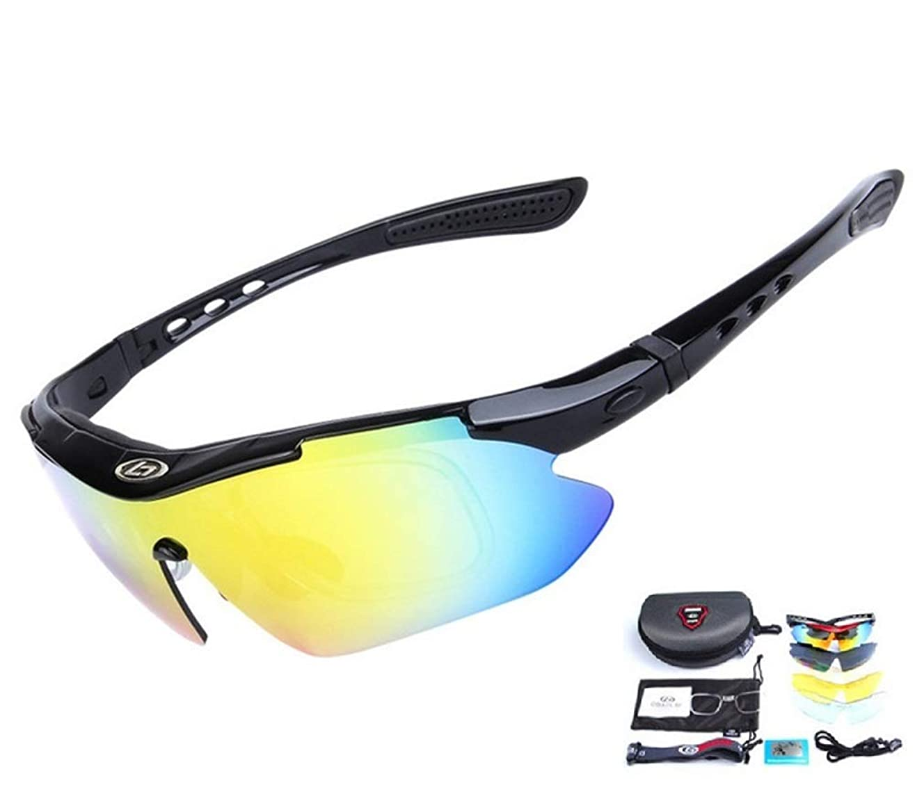 Baselay Polarized Sports Sunglasses Sun Glasses UV400 with 5 Interchangeable Lenes for Men Women Cycling Running Driving Fishing Golf Baseball Goggles
