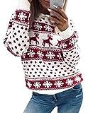 Weihnachten Damen Pullover, Teenager Mädchen Weihnachtspulli Rentier und Schnee Langarm Christmas Sweatshirt Vintage Xmas Pulli Weihnachtspullover Oberteile Langarmshirt...