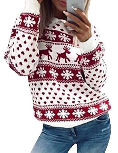 Weihnachten Damen Pullover, Teenager Mädchen Weihnachtspulli Rentier und Schnee Langarm Christmas Sweatshirt Vintage Xmas Pulli Weihnachtspullover Oberteile Langarmshirt Shirts Bluse (Rot, M)