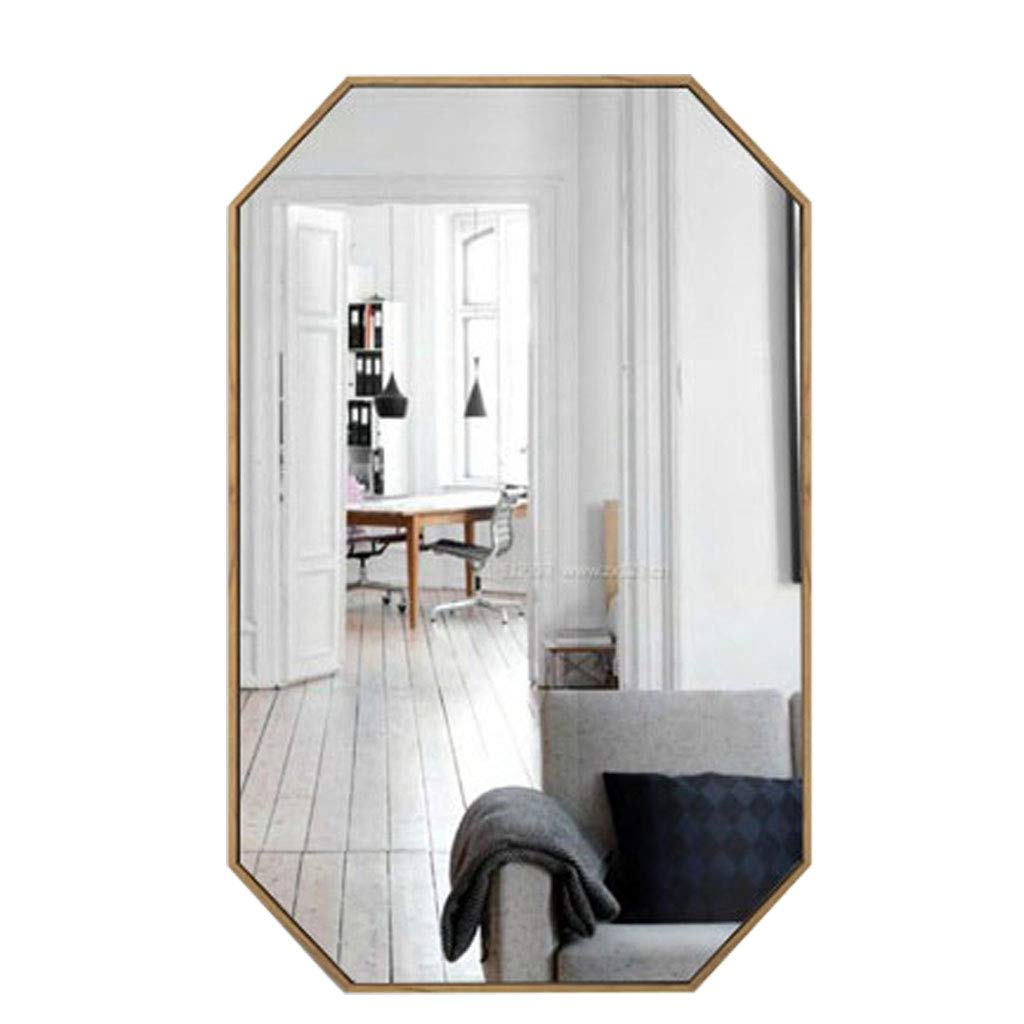 Amazon Com Polygon Wall Mirror Gold Metal Frame And Mirrored Glass Decorative Mirror For Bathroom Vanity Washrooms Living Room Entryway Home Kitchen