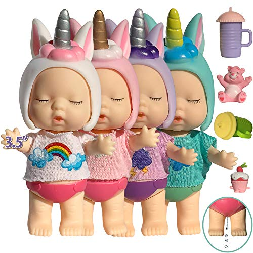 Unicorn Baby Dolls for 4 5 Year Old Girls 3 Inch Baby Unicorn Dolls for Girls Unicorn Toys for 3 4 5 Year Old Girls Unicorn Mini Baby Dollhouse Dolls Unicorns Gifts for Girls