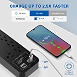 Huntkey USB C Power Strip with 12 Outlets Surge Protector, 12W USB-A, PD 18W Type C Port, 6-Foot Heavy Duty Extension Cord (2390J)