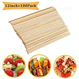 Fu Store Bamboo Skewers 12 Inch Sticks for Barbeque Fruit Kebab Marshmallow Chocolate Burgers...