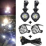 バイク 補助灯 BMW用 R1200GS R800GS 750GS ADV用 オートバイ フォグランプ LED補助灯 12-24V 40W IP67防水 汎用 180度調節 フォグ サイドライト 6000K 2個入 一年保証付 ワイヤ+保護カバ(セット1)