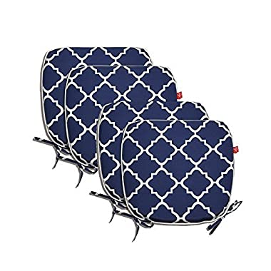 PacifiCasual Indoor/Outdoor All Weather Chair Pads Seat Cushions Garden Patio Home Chair Cushions, 17  X 16  (Navy Blue(4 set))