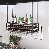AERVEAL Iron 3-Tier Ceiling Wine Racks Bottle Beverage Stand Adjustable Height Stemware Holder to Hang Cocktail or Champagne Flutes for Kitchen Bar Pubs or Restaurants Rack,#1,100Cm(39.4In)