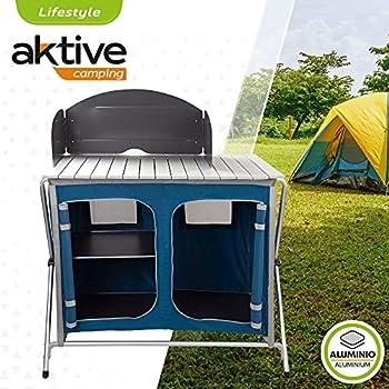 AKTIVE 52855 Cuisine de Camping en Aluminium et Textile, Unisexe, Multicolore, 60 x 51 x 98 cm