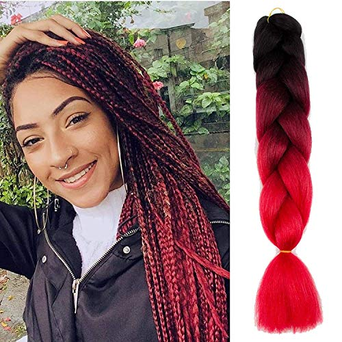 Alissa 24Inch 5pcs Black-Wine Red-Red Ombre Kanekalon Jumbo Braiding Hair Extensions Syntehtic Hair High Temperature Braids