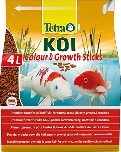 Tetra Pond Koi Sticks Colour and Growth, Premium Fish Food for All Koi Fish, 4 Litre