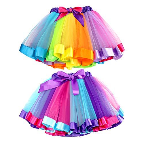 Bascolor 2Stk.Bunt Tüllrock Mädchen Regenbogen Tütü Kinder Tüllrock Ballettrock Tutu Regenbogen Rock für Kinder Mädchen, Mehrfarbig, Einheitsgröße (Etikett L)