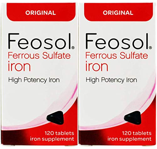 Feosol Ferrous Sulfate Iron, 120 Count (Pack of 2) High Potency Iron Supplement