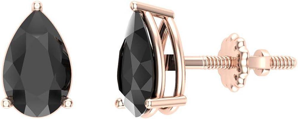 Diamond stud earrings Pear Black 14K Go Studs Translated 2.00 Popular product carat