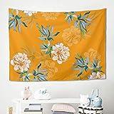 Gamoii - Manta de pícnic, diseño de Flores, Color Naranja, poliéster, Blanco, 150 x 130 cm