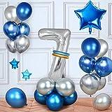 MMTX Cumpleaños Globos 7 Años Azul, Decoracion Cumpleaños Globos de Látex para Cumpleaños para Niños (7 Años)
