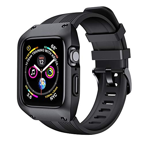 AiMok Correa Compatible con Apple Watch Series 6 SE 5 4 para Funda 44mm, Protección Deportiva Rugged Armour Militar Correa de Repuesto con Funda para iWatch Series 6/SE/5/4 – Negro