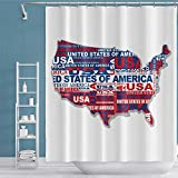 OERJU Duschvorhang mit 12 Haken, 182,9 x 182,9 cm, Landkarte der USA, weißer Hintergr&, Aquarellfarben, handgezeichnetes Polyestergewebe, maschinenwaschbar, wasserdicht, Duschvorhänge