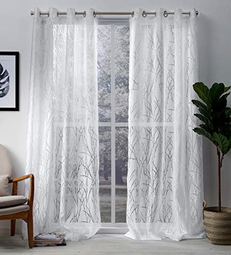 Exclusive Home Curtains EH8191-01 2-96G Edinburgh Sheer Branch Burnout Window Curtain Panel Pair with Grommet Top, 52x96, Winter White, 2 Piece