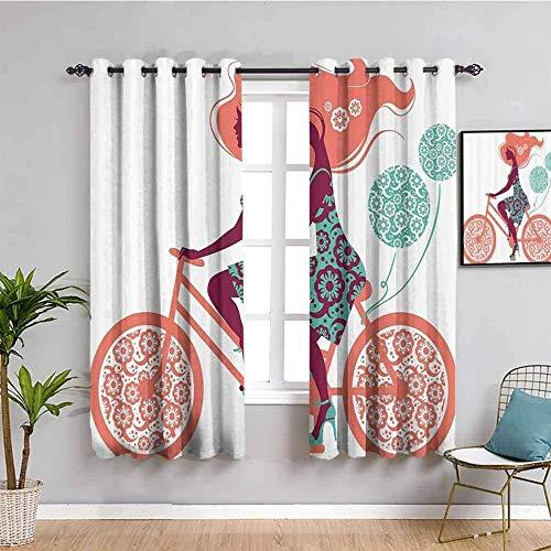 CLZLH Cortinas Salon Modernas 2 Piezas Cortinas Termicas Aislantes Frio Y Calor Dormitorio Cortinas Habitacion Juvenil Con Ojales 70X160Cm(An X Al)3D Color Personaje Niña Bicicleta Globo Patrón
