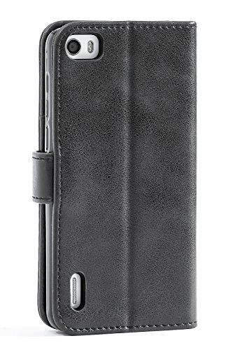 Mulbess Handyhülle für Honor 6 Hülle, Leder Flip Case Schutzhülle für Huawei Honor 6 Tasche, Schwarz - 2