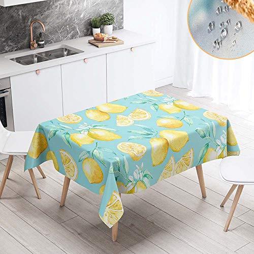 Chickwin Mantel para Mesa Impermeable Antimanchas Rectangular, Moderno Amarillo Impresión de Limón Mantel para Cocina Salón Comedor Lavable Resistente Tela de Poliéster (100x140cm,Hojas de Limon)