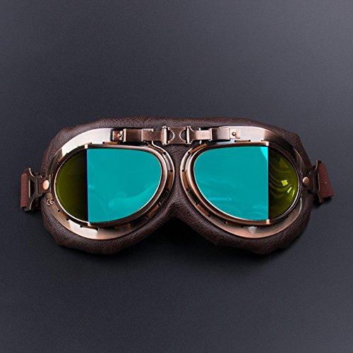 Ocamo Gafas de Moto Gafas Vintage Motocross Retro Aviador Piloto Crucero ATV Gafas de Protección UV