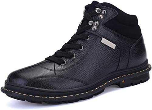 KXLDres Bottes de Neige pour Hommes Bottes d'hiver Chaudes Martin Bottes antidérapantes à Lacets Chaussures Plates paniers de randonnée Trekking Bottes de Combat à Pied Noir Brun