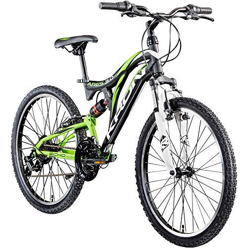 KRON Mountainbike Fully 24 Zoll Jugendrad Fahrrad Ares 3.0 MTB 21 Gänge Rad ATB (schwarz/grün/weiß, 38 cm)