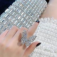 韓国のファッションレディースフルダイヤモンドバタフライジュエリーオープンリング中空ジェムストーン誇張リングリング人気のジュエリー