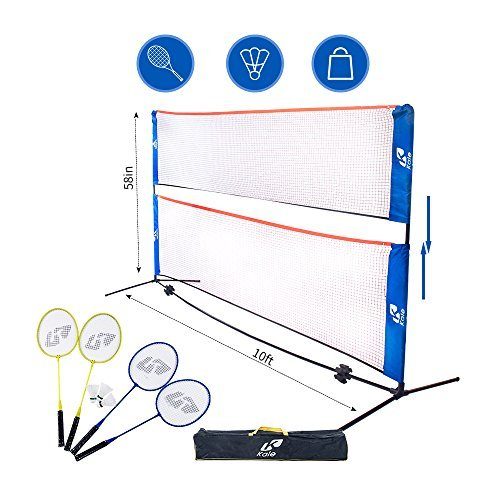 Kale 10 Foot Badminton, Volleyball, Tennis Portable Net Stand/Frame for Family and Friends Outdoor or Indoor Sport Game with 4 Badminton Rackets and 3 Shuttlecock