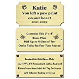 Size: 4' W x 2' H, Personalized, Custom Engraved, Brushed Gold Solid Brass Plate Picture Frame Name Label Art Tag for Frames, with Adhesive Backing or Screws - Indoor use only