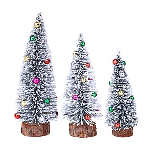 Napoo Best Tabletop Small Christmas Tree White Iridescent Bauble Ball, Artificial Greenery Tree Pine Fir Dining Table Ornaments Office Deck Centerpiece Decorations (Tall 6'')