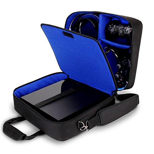 USA Gear Tragetasche für Gaming Konsolen - Schutz Konsolentasche mit Schultergurt und Unterteilbaren Fächer für Zubehör und Games – Kompatibel mit Playstation 4, Xbox One und Mehr Konsolen - Blau