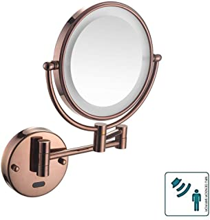 Makeup Mirror, Wall Mounted Sensor Mirror Health Makeup Shaving Mirror LED Lighted Bathroom Mirror for Hotel Vanity with Adjustable Extendable 8 inch 5X Magnification