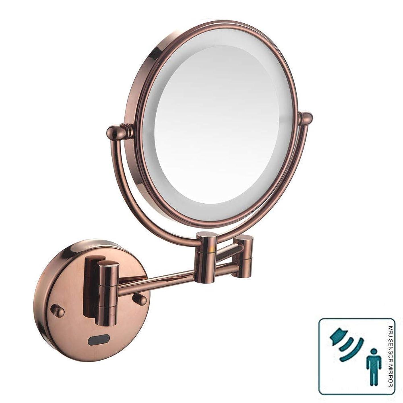 くすぐったいアカデミック管理する浴室シェービングミラー壁に取り付けられたセンサーミラー化粧鏡LED照明健康調節可能なホテルの虚栄心のための調節可能な拡張可能な8インチ3x拡大プラグ
