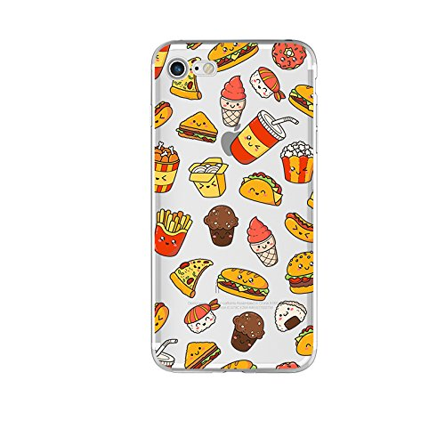 Blingy's iPhone SE (2020) Case/iPhone 8 Case/iPhone 7 Case(4.7inch), Fun Food Style Transparent Clear Flexible Soft TPU Rubber Case Compatible for iPhone SE (2020)/iPhone 8/iPhone 7 (Happy Fast Food)
