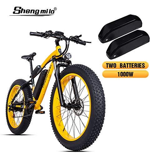 Shengmilo 1000W Motor Elektrofahrräder, 26 Zoll Mountain E-Bike, Elektrisches Faltrad, 4 Zoll Fetter Reifen,Shimano 21 Variable Speed & XOD Brake,Enthält 2 Batterien (Gelb)