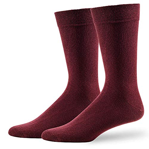 NewwerX 4 Paar Bunte Socken Herren und Damen, Einfarbige Socken aus Baumwolle, hochwertiger Piqué-Komfortb& - OEKO-TEX Standard 100 (Bordeaux, 39-42)
